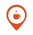 a cup of coffe in location logo isolated in vector image