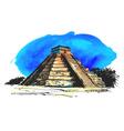 hand colored drawing maya pyramid vector image