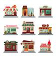 colorful city buildings set vector image