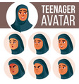 arab muslim teen girl avatar set face vector image vector image