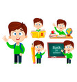 back to school set five poses cute boy vector image vector image