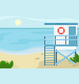 beach landscape with a lifeguard house vector image vector image