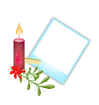 Blank Photos with Mistletoe and Christmas Candle vector image vector image
