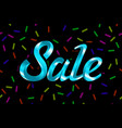 blue text sale lettering on black background vector image
