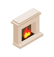 Burning fireplace icon isometric 3d style vector image