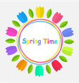 colorful tulip flowers border spring time for vector image vector image