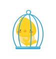 cute chicken in the cage funny bird cartoon vector image vector image