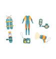diving equipment set wetsuit underwater mask vector image