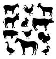domestic farm animals birds black silhouettes vector image