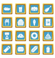 fast food icons azure vector image vector image