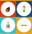 flat icon meal set of sack eggshell box packet vector image vector image