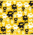 fun summer flowers silhouette seamless pattern vector image vector image