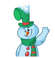 funny cartoon snowman waving vector image