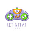 gaming controller logo let s play gamepad icon vector image vector image