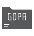 gdpr folder glyph icon information and document vector image vector image