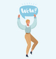 happy surprised woman in jeans jumping isolated vector image