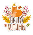 hello autumn season flat design vector image vector image