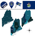 map of maine with regions vector image vector image