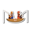 men fishing on boat icon vector image vector image