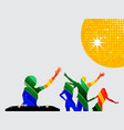 Multicoloured silhouette of dancers and dj