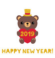 new year card with a cute cartoon bear vector image vector image