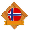 norway flag on wooden board vector image vector image