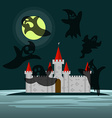 Old castle in the night and six ghosts around him vector image