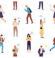 people use gadgets seamless pattern men vector image