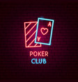 poker club neon label vector image vector image
