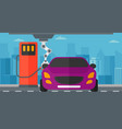 robot filling up fuel into car at the gas station vector image vector image