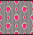 seamless strawberry patter on striped background vector image vector image