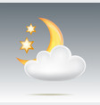 semimonthly and stars behind cloud in night sky vector image vector image