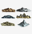 set of vintage old engraving with mountains peaks vector image vector image