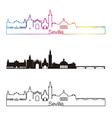 Seville V2 skyline linear style with rainbow vector image vector image