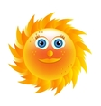 Smiling yellow sun with blue eyes vector image