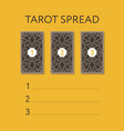 template for three tarot card spread vector image vector image