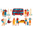 tourists in europe people traveling to famous vector image vector image