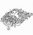 unicorn with a long mane and roses black and vector image vector image