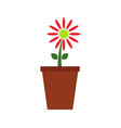 vase icon with flower vector image vector image