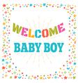 Welcome baby boy shower card Cute postcard Arrival vector image