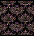 damask seamless pattern floral black violet gold vector image