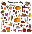 thanksgiving day doodle set vector image