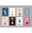 Cute scandinavian set of greeting cards vector image