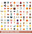 100 pastry skill icons set flat style vector image vector image