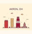 Akron skyline ohio usa trendy city linear