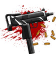 army uzi weapon with bullets ad blood vector image