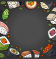 background with different japan sushi and space vector image vector image
