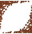 background with realistic coffee beans and copy vector image vector image