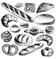 bakery set hand drawn in vintage style vector image