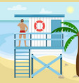 beach landscape with palm trees lifeguard house vector image